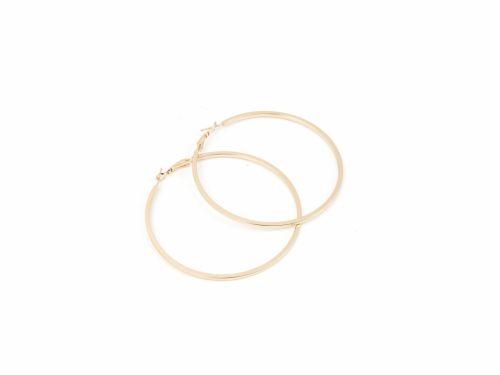 Σκουλαρίκι Κρίκος Τετραγωνισμένος Χρυσός 70mm