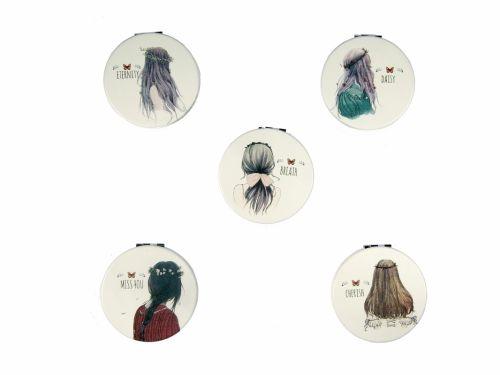 Καθρεφτάκι τσάντας διπλής όψεως κοπέλα με φράσεις