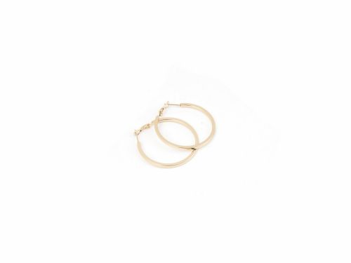 Σκουλαρίκι Κρίκος Τετραγωνισμένος Χρυσός 40mm
