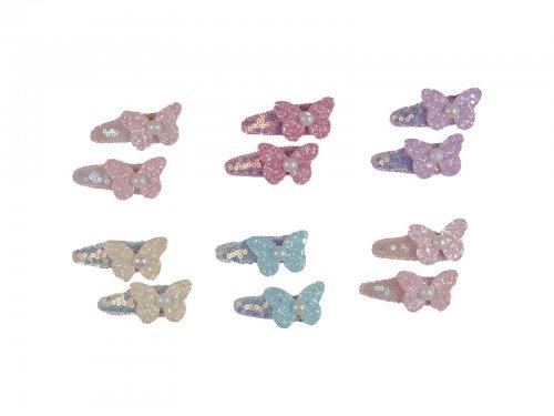 Παιδικό Κλικ κλακ μαλλιών πεταλούδα με πέρλα σετ 2 τεμ