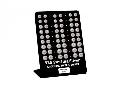 Σκουλαρίκι αυτιού Ασήμι 925 πέρλα 6/7/8 mm Rhodium plated