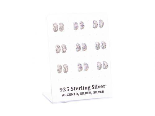 Σκουλαρίκι αυτιού Ασήμι 925 μισός κρίκος με στρας λευκό/AB Rhodium pla