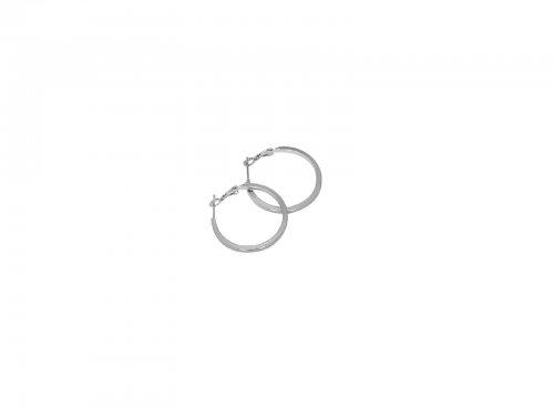 Σκουλαρίκι Κρίκος Τετραγωνισμένος Ασημί 20 mm
