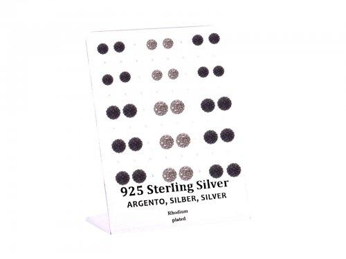 Σκουλαρίκι αυτιού Ασήμι 925 6/8 mm Δισκόμπαλα Rhodium plated