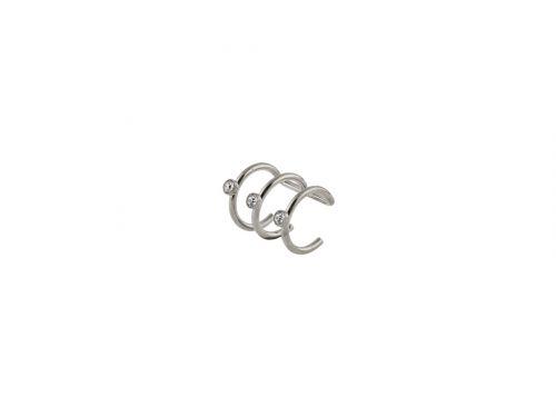 Fake σκουλαρίκι ear cuff τριπλό ασημί