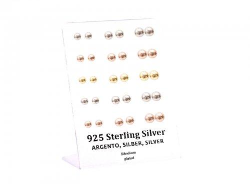 Σκουλαρίκι αυτιού Ασήμι 925 ασημί/χρυσό/rosegold Μπίλια 6/7/8 mm Rhodi