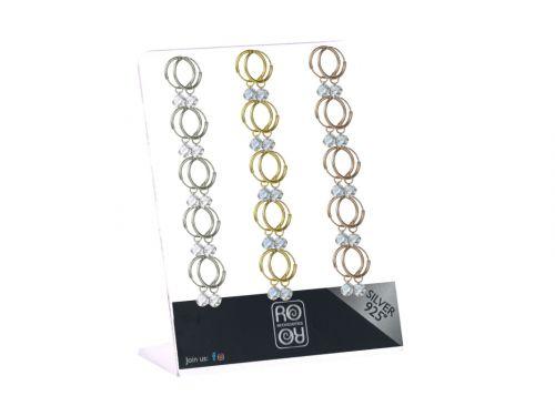 Σκουλαρίκι Κρίκος αυτιού Ασήμι 925 ασημί/χρυσό/rosegold με στρας 1.2*1