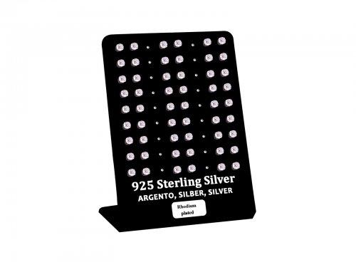 Σκουλαρίκι αυτιού Ασήμι 925 4 mm 4 clip Zircon Rhodium plated