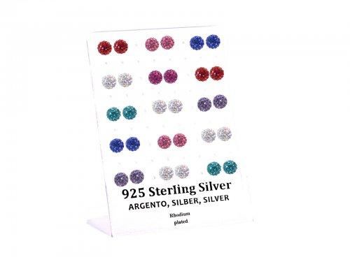 Σκουλαρίκι αυτιού Ασήμι 925 8 mm Δισκομπάλα χρώμα Rhodium plated