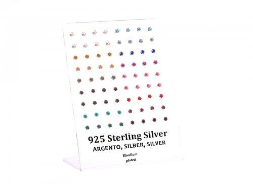 Σκουλαρίκι αυτιού Ασήμι 925 στρας χρώμα 3 mm multiclip Rhodium plated