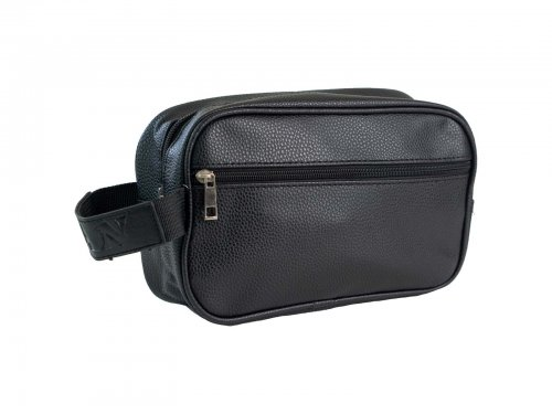 Cosmetic bag for men faux leather black
