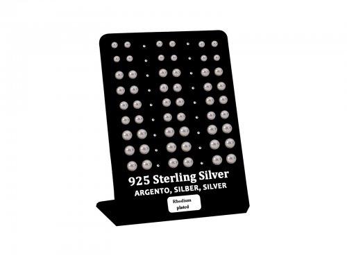 Σκουλαρίκι αυτιού Ασήμι 925 πέρλα 4/5/6 mm Rhodium plated