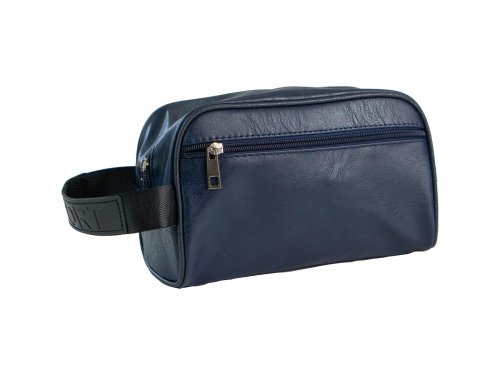 Cosmetic bag for men faux leather blue