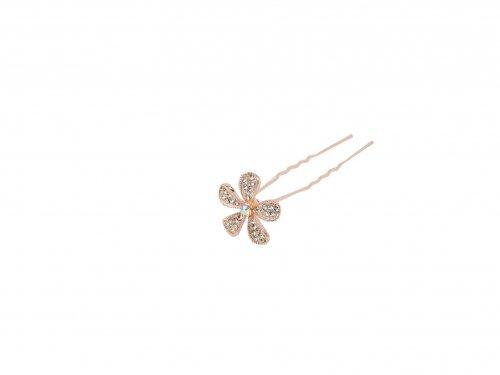Φουρκέτα Ροζ -Χρυσό Λουλούδι με Στρας
