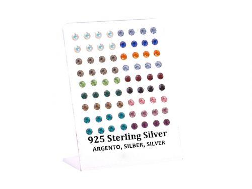 Σκουλαρίκι αυτιού Ασήμι 925 στρας χρώμα 5 mm