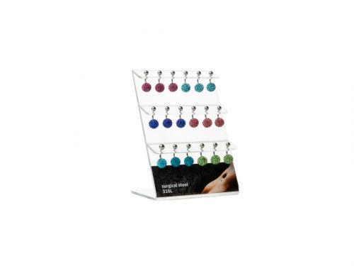 Σκουλαρίκι αφαλού Stainless Steel δισκόμπαλα χρώμα