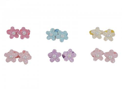 Παιδικό λάστιχο μαλλιών glitter λουλούδι, σετ 2 τμχ