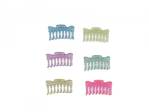 Κλάμερ μαλλιών 9 cm, διάφανα fluo χρώματα