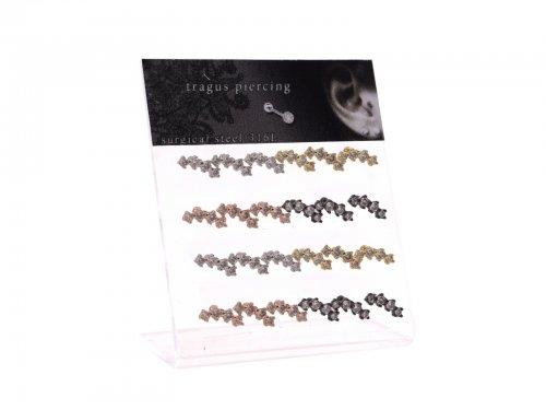 Σκουλαρίκι τράγου & πτερυγίου αυτιού Stainless Steel ασημι/χρυσό/μαύρο