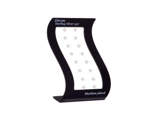 Σκουλαρίκι αυτιού Ασήμι 925 επίχρυσο 5 mm Zircon Rhodium plated