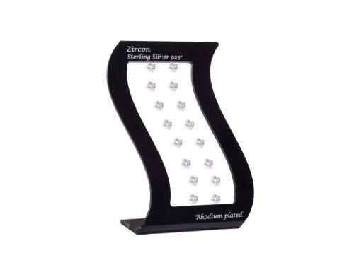 Σκουλαρίκι αυτιού Ασήμι 925 επιπλατινωμένο 7 mm Zircon Rhodium plated