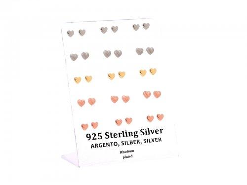 Σκουλαρίκι αυτιού Ασήμι 925 καρδιά Rhodium plated