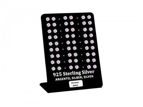 Σκουλαρίκι αυτιού Ασήμι 925 5 mm 4 clip Zircon Rhodium plated