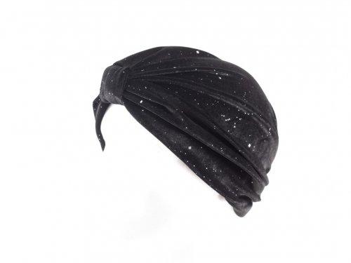 Τουρμπανι βελούδο μαύρο με στρας