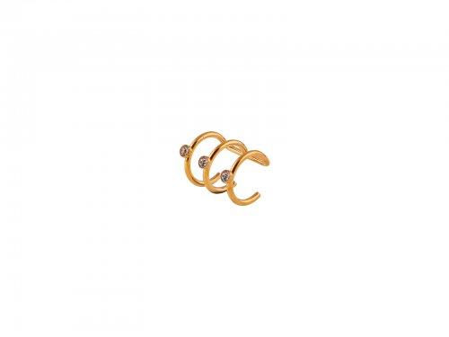 Fake σκουλαρίκι ear cuff τριπλό Χρυσό