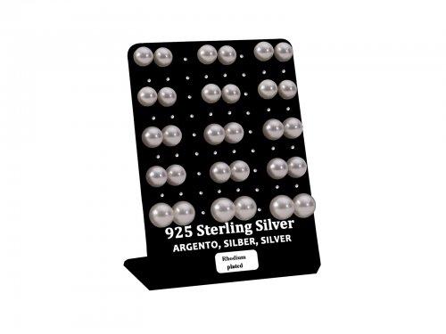 Σκουλαρίκι αυτιού Ασήμι 925 πέρλα 8/9/10 mm Rhodium plated