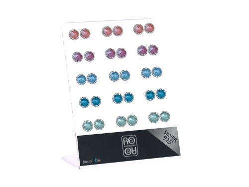 Σκουλαρίκι αυτιού Ασήμι 925 swarovski χρώμα 8 mm  Rhodium plated