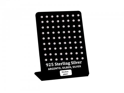 Σκουλαρίκι αυτιού Ασήμι 925 στρας 3 mm Rhodium plated