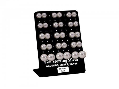 Σκουλαρίκι αυτιού Ασήμι 925 πέρλα 9/10/12 mm Rhodium plated