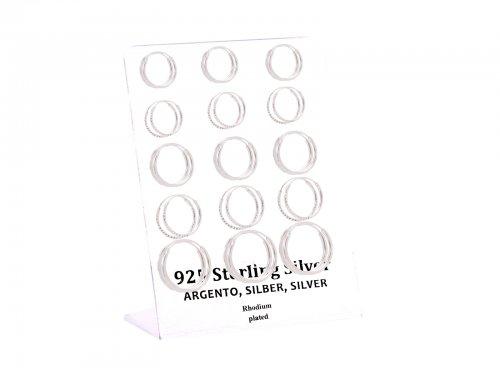 Σκουλαρίκι Κρίκος αυτιού Ασήμι 925 14/16/18 mm Rhodium plated